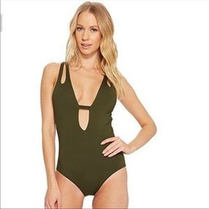 NEW BECCA One Piece Olive Green Swimsuit Small